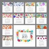 Calendrier 2019 Calendrier floral avec les fleurs colorées Vecteur Images stock