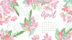 Calendrier floral 2018 de vintage Photo libre de droits
