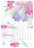 Calendrier floral 2018 de vintage Images libres de droits