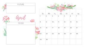 Calendrier floral 2018 de vintage Photos stock