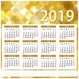 Calendrier 2019 Fond abstrait d'or illustration libre de droits