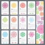 Calendrier 2016 Formes colorées de flocons de neige, mandala illustration libre de droits