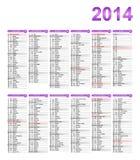 Calendrier français 2014 Image stock