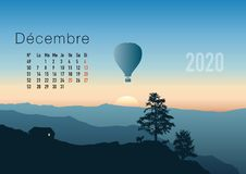 2020 calendar ready to print in French version, showing sunsets on landscapes overflighted by balloons. vector illustration