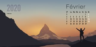 2020 calendar ready to print in French version, showing sunsets on mountain landscapes. 2020 calendar ready to print in French version, consisting of a page for vector illustration