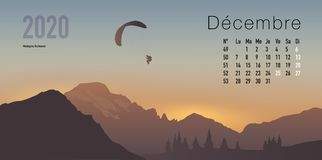 2020 calendar ready to print in French version, showing sunsets on mountain landscapes. 2020 calendar ready to print in French version, consisting of a page for stock illustration