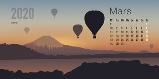 2020 calendar ready to print in French version, showing sunsets on mountain landscapes. 2020 calendar ready to print in French version, consisting of a page for royalty free illustration