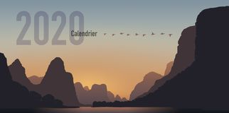 2020 calendar ready to print in French version, showing sunsets on mountain landscapes. 2020 calendar ready to print in French, consisting of a cover page and a royalty free illustration