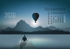 2020 calendar ready to print in French version, showing sunsets on landscapes overflighted by balloons. 2020 calendar ready to print in French version royalty free illustration
