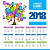 Calendrier gai et coloré - nouvelle année 2018 illustration libre de droits