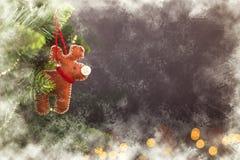 Calendrier givré de décoration de Noël de carte de voeux Image stock