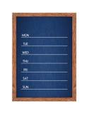 Calendrier hebdomadaire de tableau pour l'organisation de maison ou de bureau Image libre de droits