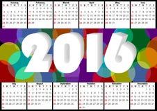 calendrier 2016 horizontal avec l'arc-en-ciel recouvrant les bulles colorées Images libres de droits