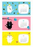Calendrier horizontal 2017 de chat Jeu de caractères drôle mignon de bande dessinée Image stock