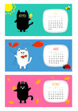 Calendrier horizontal 2017 de chat Jeu de caractères noir blanc de bande dessinée drôle mignonne Photographie stock
