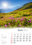 Calendrier 2014. Juin. Images stock