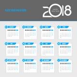 Calendrier 2018 - la semaine commence lundi Photos stock