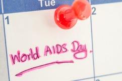 Calendrier marquant la Journée mondiale contre le SIDA du 1er décembre Photographie stock