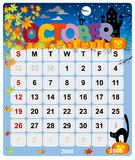 Calendrier mensuel - 1er octobre Photo stock
