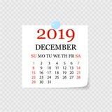 Calendrier mensuel 2019 avec la boucle de page Arrachez le calendrier pour décembre Fond blanc Illustration de vecteur illustration libre de droits