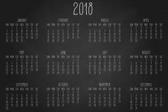 Calendrier mensuel de l'année 2018 Images stock