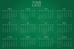 Calendrier mensuel de l'année 2018 Photographie stock libre de droits