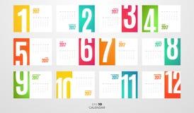 Calendrier mensuel 2017 de mur Descripteur de vecteur illustration de vecteur