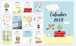 Calendrier mensuel 2019 de voyage avec le fourgon, le soleil, valise, mer, plage, wat illustration de vecteur