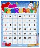 Calendrier mensuel - février Photographie stock libre de droits