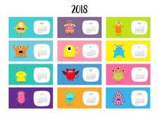 Calendrier mensuel horizontal 2018 de monstre Jeu de caractères drôle mignon de bande dessinée Tout le mois Conception plate illustration libre de droits