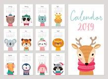 Calendrier 2019 Calendrier mensuel mignon avec des animaux Caractères tirés par la main illustration de vecteur