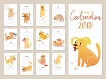 Calendrier 2018 Calendrier mensuel mignon avec des chiens d'aquarelle illustration libre de droits