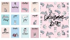 Calendrier 2018 Calendrier mensuel mignon avec des lapins Photographie stock libre de droits