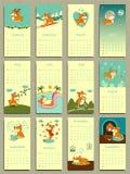 Calendrier 2018 Calendrier mensuel mignon avec le corgi de gallois illustration stock