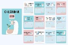 Calendrier mensuel mignon 2019 avec le lama, bagage, cactus, géométrique illustration stock