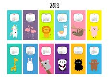 Calendrier mensuel vertical animal 2019 Alpaga, lama, licorne, flamant, paresse, lion, panda, chat, ours de girafe, porc de lièvr illustration libre de droits