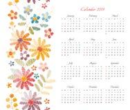 Calendrier mignon pendant 2019 années Débuts de semaine dimanche Calibre de vecteur avec l'ornement floral des fleurs brodées col illustration stock