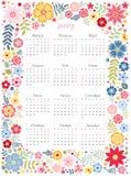 Calendrier mignon pendant 2019 années Débuts de semaine lundi Calibre de vecteur dans le cadre floral avec les fleurs colorées La illustration libre de droits