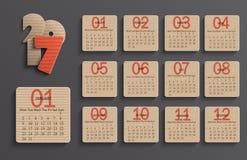 Calendrier moderne 2017 dans un style officiel de papier Images libres de droits