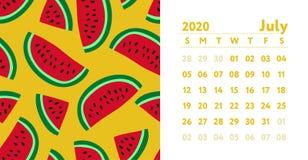 Calendrier 2020 Mois de juillet Calendrier mural anglais de vecteur Configuration sans joint de past?que Croquis tir? par la main illustration de vecteur