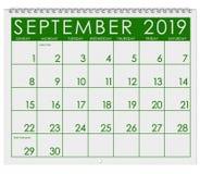 2019 : Calendrier : Mois de septembre illustration stock