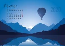 CALENDRIER 2020 Montgolfiere-02 Fevrier royaltyfri illustrationer