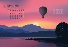 2020 calendar ready to print in French version, showing sunsets on landscapes overflighted by balloons. 2020 calendar ready to print in French version stock illustration