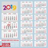 Calendrier mural 2019, début de semaine du dimanche Pour la taille A4 Illustration Libre de Droits