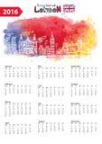 Calendrier 2016 Panorama de points de repère de Londres, aquarelle illustration de vecteur