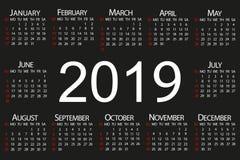 Calendrier pendant 2019 années Illustration de vecteur illustration de vecteur
