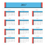 Calendrier pendant 2017 années La semaine commence à partir du dimanche Photographie stock libre de droits