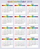 Calendrier pendant 2019 années Tous les jours illustration stock