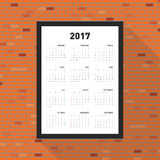 Calendrier 2017 pendant une année Photographie stock