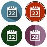 Calendrier plat d'icônes Image libre de droits